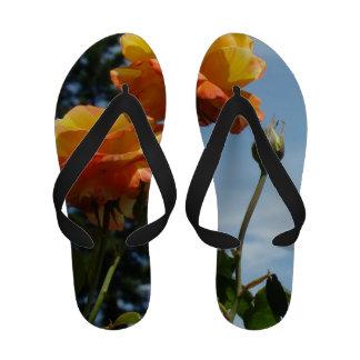Flip Flops Orange Yellow Rose Flowers Blue Sky