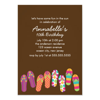 Flip Flops Pool and Summer Party 5x7 Paper Invitation Card