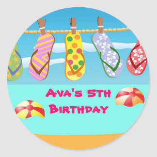 Flip Flops Pool Birthday Party Favor Labels
