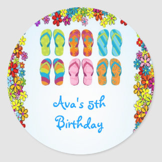 Flip Flops Pool Birthday Party Favor Labels Classic Round Sticker