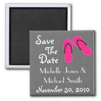 Flip Flops Save The Date Magnets (Hot Pink/Black)