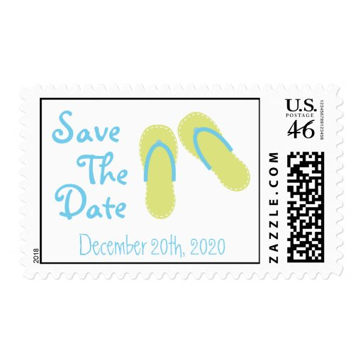 Flip-Flops Save The Date Postage Stamps