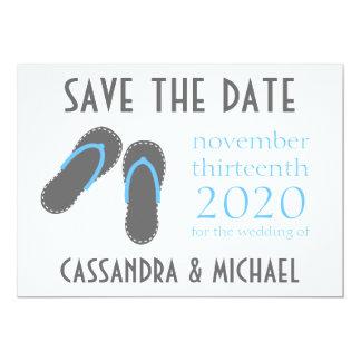 Flip-Flops Save The Dates (Gray / Pale Blue) 5x7 Paper Invitation Card