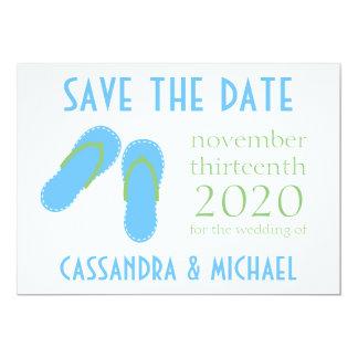 Flip-Flops Save The Dates (Mint Green / Pale Blue) 5x7 Paper Invitation Card