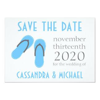 Flip-Flops Save The Dates (Pale Blue / Gray) 5x7 Paper Invitation Card