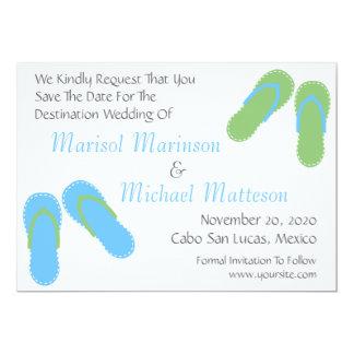 Flip Flops Save The Dates (Pale Blue / Mint Green) 5x7 Paper Invitation Card