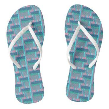 Beach Themed Flip flops slate, turquoise, pink, blue