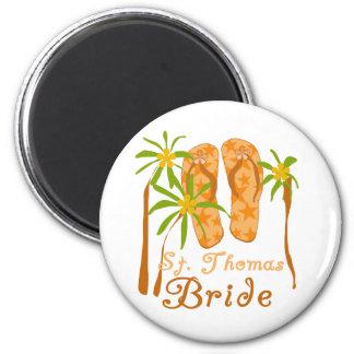 Flip Flops St. Thomas Bride 2 Inch Round Magnet