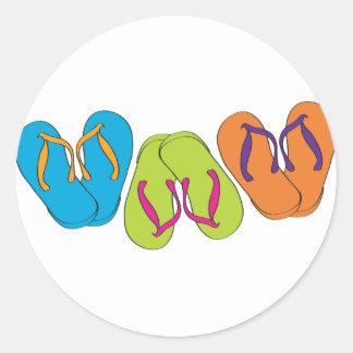 Flip Flops Classic Round Sticker