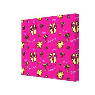 Flip Flops Summer Fun Pink Abstract Canvas Print
