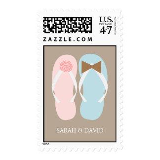 Flip Flops Summer Wedding Postage Stamp