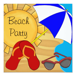 Flip Flops Sunglasses Beach Birthday Party Personalized Announcements