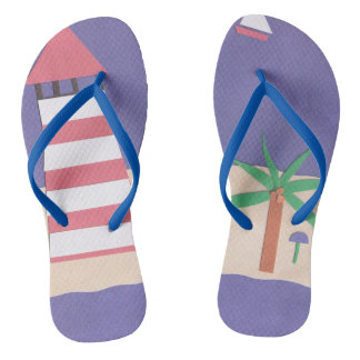 Flip-flops with a Lighthouse and Palm Tree Flip Flops