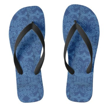 Beach Themed Flip Flops with bandana motif and black straps
