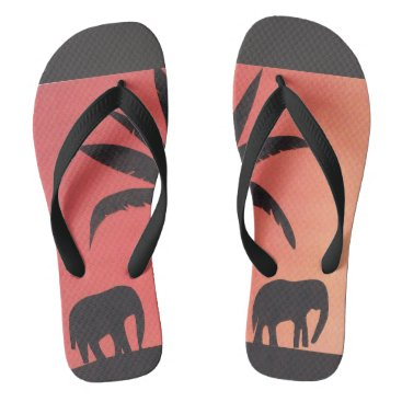 Beach Themed Flip-flops with Elephant Design Flip Flops