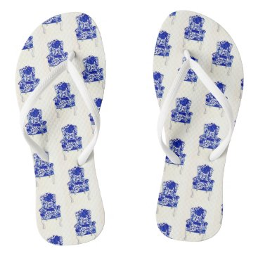 Beach Themed Flip Flops with navy and white chair design