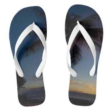Flip Flops with picture of beach and palm tree