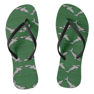 Beach Themed Flip flops with shark, green, black