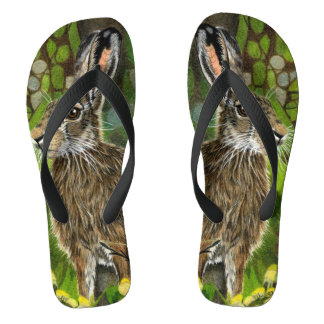 Flip Flops with Wild Hare drawing in Colour
