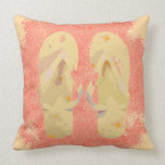 Flip Flops (yellow/peach) Throw Pillow