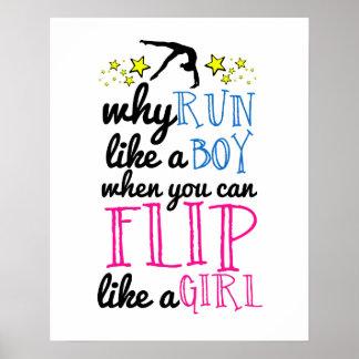 Flip Like a Girl Empowerment Gymnastics Poster