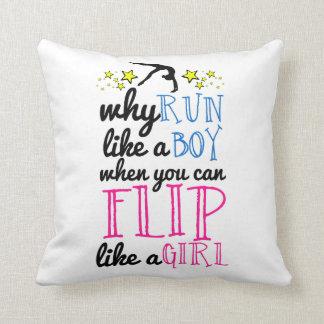 Flip Like a Girl Empowerment Gymnastics Throw Pillow
