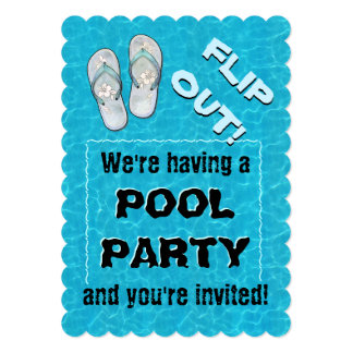 """""""Flip out"""" Pool Party Invitation"""
