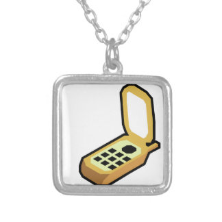 Flip Phone Silver Plated Necklace