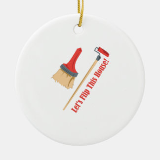 Flip This House Double-Sided Ceramic Round Christmas Ornament