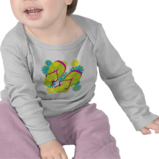 Flipflops_greenyellowpink Tee Shirts