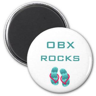 flipflops, OBX rocks 2 Inch Round Magnet
