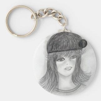 Flipped Hair Flapper Keychain