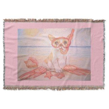 Beach Themed Flipper Throw Blanket