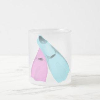 flippers dive swim pink blue sports men women frosted glass coffee mug