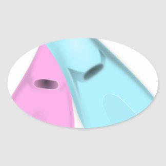 flippers dive swim pink blue sports men women oval sticker