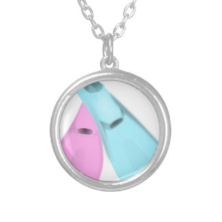 flippers dive swim pink blue sports men women silver plated necklace