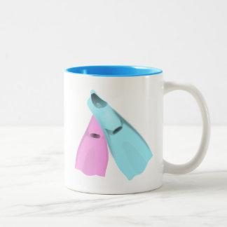 flippers dive swim pink blue sports men women Two-Tone coffee mug