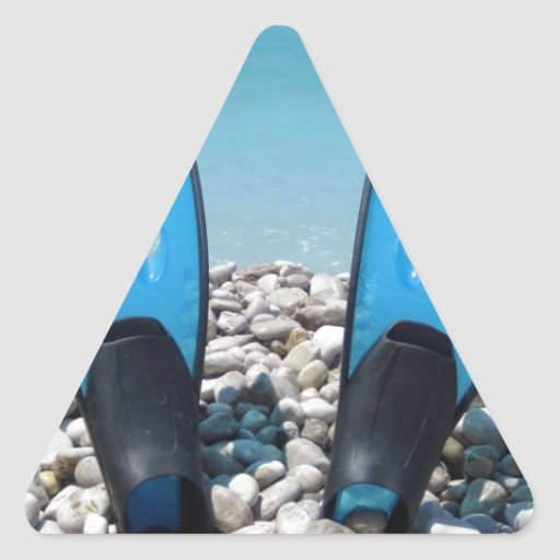 Flippers, Pebbles, and Ocean Triangle Stickers