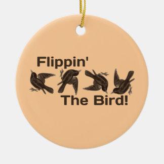 Flippin el pájaro adorno redondo de cerámica