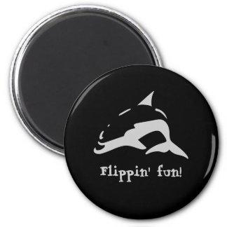 Flippin' fun! 2 inch round magnet