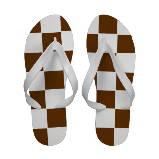 Flips-flopes a cuadros marrones y blancos
