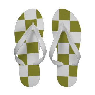 Flips-flopes a cuadros verdes olivas del verde y b