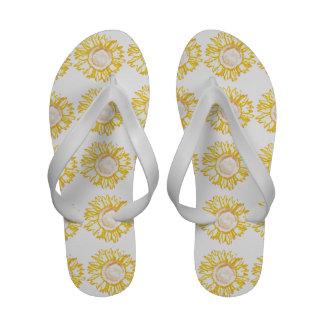 Flips-flopes amarillos de neón del girasol chanclas de playa