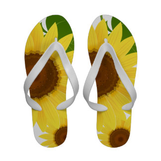 Flips-flopes amarillos gigantes del girasol
