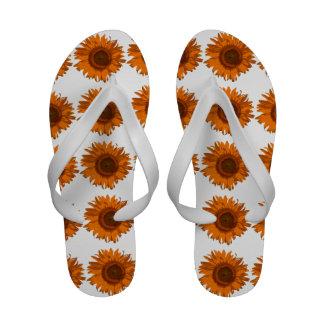 Flips-flopes anaranjados del girasol sandalias de playa