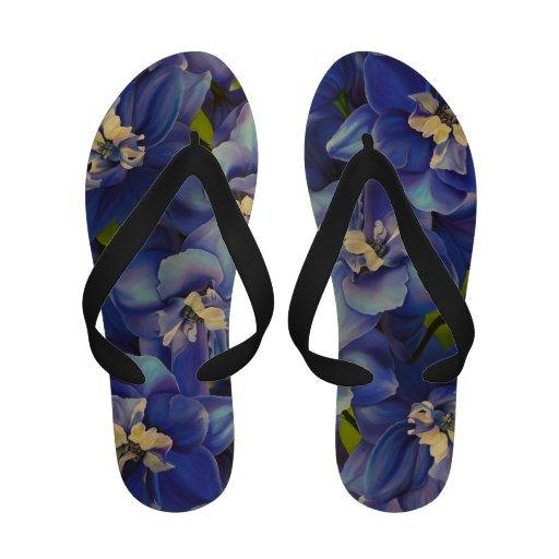 Flips-flopes azules de los Delphiniums (correas ne Chanclas De Playa
