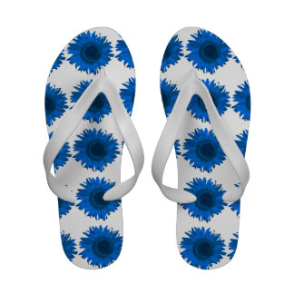 Flips-flopes azules del girasol sandalias de playa