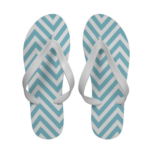 Flips-flopes blancos azules de las correas del zig