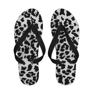 Flips-flopes blancos del leopardo de las mujeres