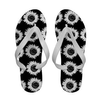 Flips-flopes blancos y negros del girasol sandalias